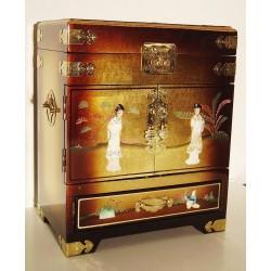 Boîte à bijoux laquée 31x20x38