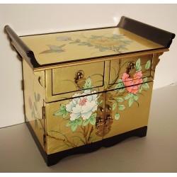 Boîte à bijoux chinoise laque dorée