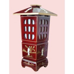 Lampe chinoise pagode 31x31x62
