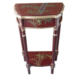 Selette chinoise laque rouge 50x30x84