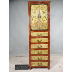 Commode tibétaine 2 portes 6 tiroirs 56x36x180