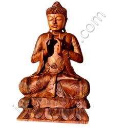 Bouddha bois sculpté H80