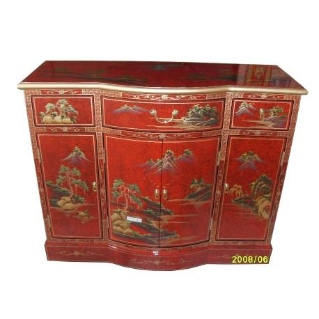 Buffet chinois rouge 107x41x86