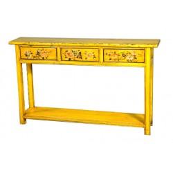 Console tibétaine jaune 140x31x84