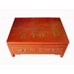 Table de salon cuir 107x67x42 cm
