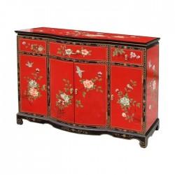 Buffet chinois rouge vif 121x45x91