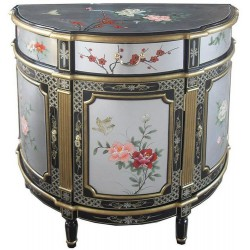Meuble chinois d'appoint demi-lune 93x46x90