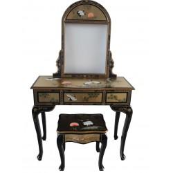 Coiffeuse chinoise+tabouret+miroir 93x40x80