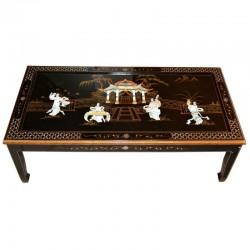 Table de salon laquée noire 120x60x40