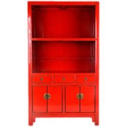 Bibliothèque rouge Meuble chinois 126x37x185