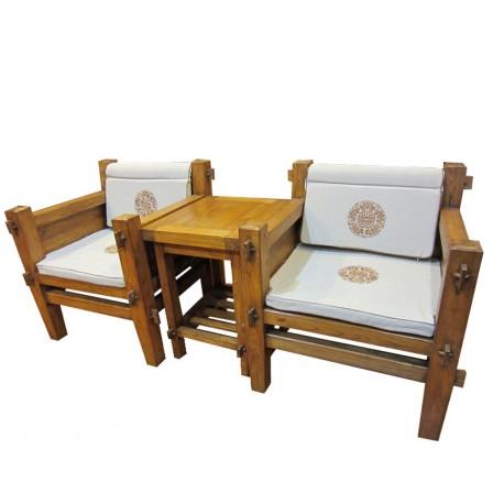 Fauteuils et table d'appoint F: 75x64x85cm - T: 55x45x66 cm