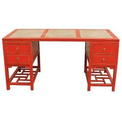 Bureau chinois rouge plateau marbre L160xP80xH80 cm