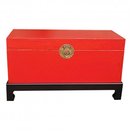 Coffre chinois rouge sur pieds 90x39x50