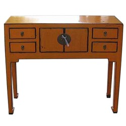 Console chinoise orange 90x30x85