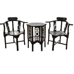 Table de jeux noire avec 2 fauteuils L53xP53xH68 - L73xP45xH83 cm