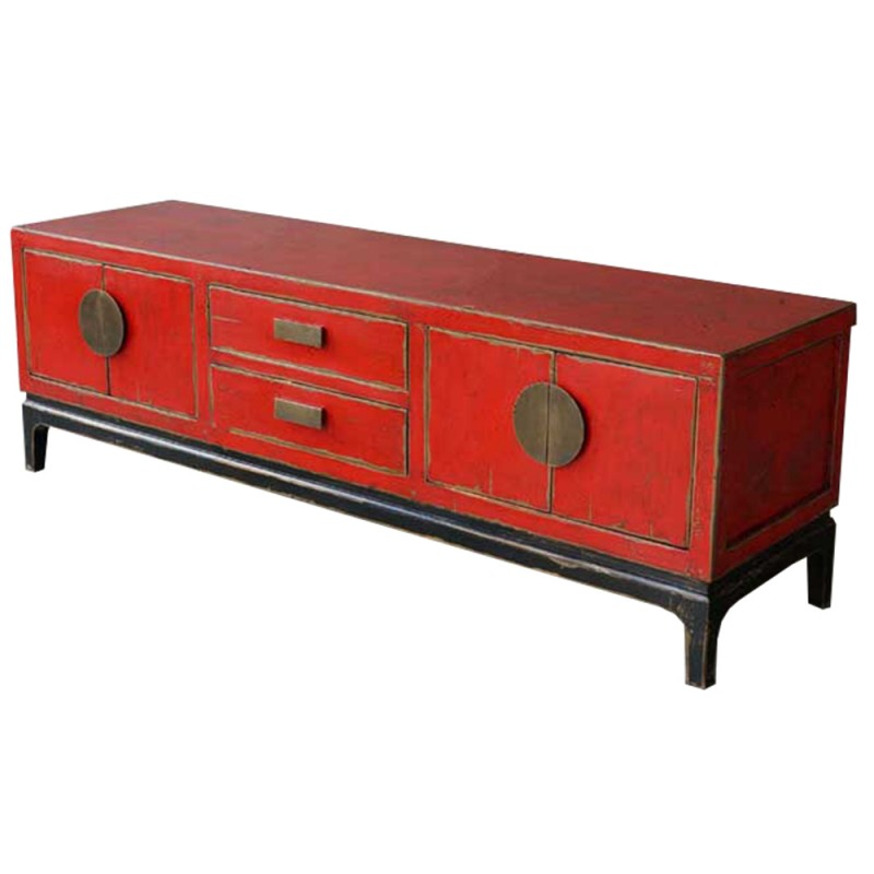 Meuble tv pin rouge 160x45x51 import d 39 asie for Meuble chine import