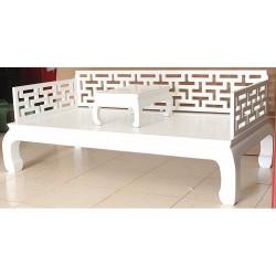 Canapé lit & tablette blanc 206x106x45/81