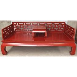 Canapé lit & tablette rouge-ORME-206x106x45/81 cm