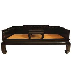 Canapé lit & tablette noir-ORME-206x106x45/81 cm