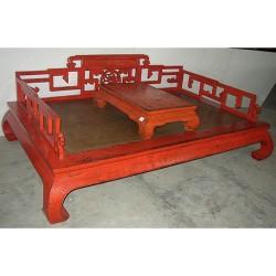 Canapé lit & tablette rouge-ORME-206x106x45/81
