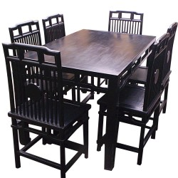 Table + 6 chaises orme L180xP80xH80-L45xP42xH90 cm