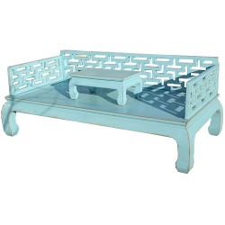 Canapé lit & tablette bleu L206xP106xH45/81