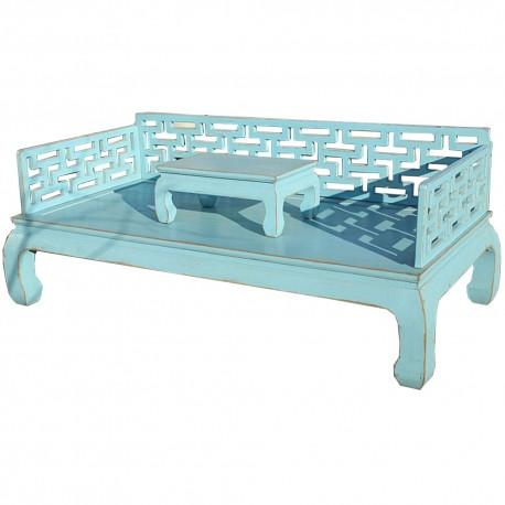 Canapé lit & tablette bleu-ORME- L206xP106xH45/81