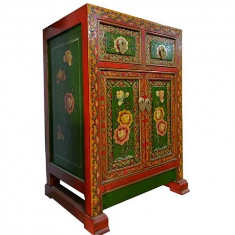 Meuble d'appoint tibétain rouge et vert L48xP35xH70 cm