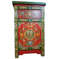 Meuble d'appoint tibétain motif fleurs L45xP35xH75 cm