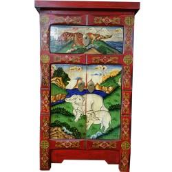 Meuble d'appoint tibétain éléphants et tigres 45x35x75