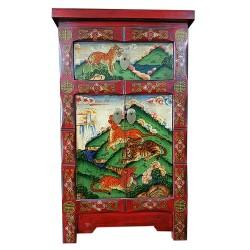 Meuble d'appoint tibétain tigres et panthères 45x35x75