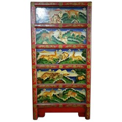 Commode tibétaine 5 tiroirs animaux 50x34x100