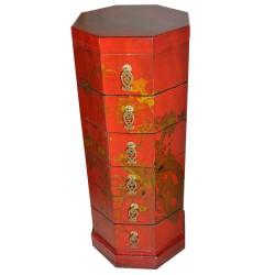 Colonne octogonale chinoise 6 tiroirs 36x36x106
