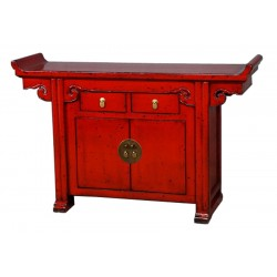 Buffet chinois rouge 145x40x92