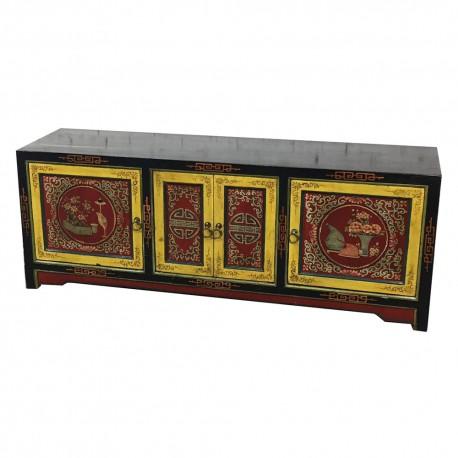 Meuble télévision tibétain Derge L162xP43xH60 cm