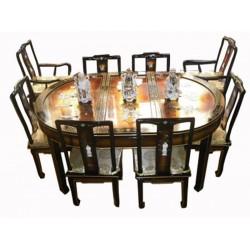 Table de salle à manger avec 6 chaises et 2 fauteuils 213x122x81