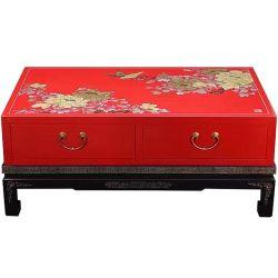 Table basse laquée 2 tiroirs 110x60x45