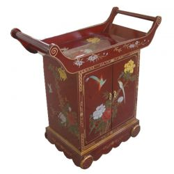 Bar chinois laque rouge 80x40x86