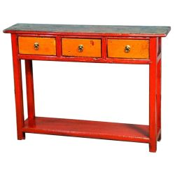 Console chinoise rouge orange