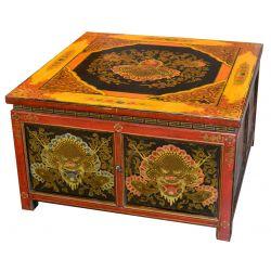 Table de salon tibétaine L90 x P90 x H48 cm