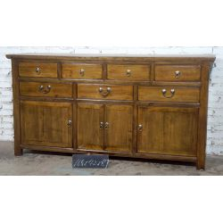 Buffet chinois rouge 4 portes 7 tiroirs 168x42x87