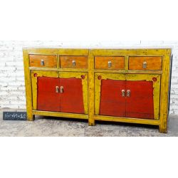 Buffet chinois rouge et jaune 160x45x87