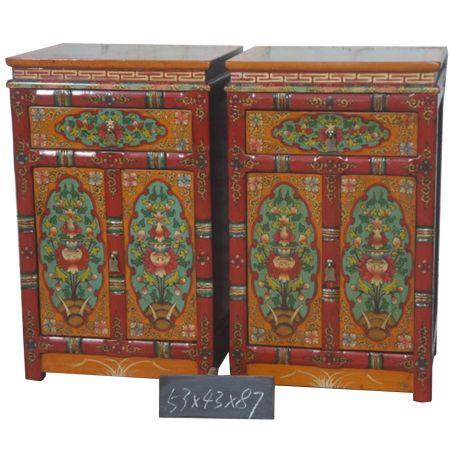 Meuble d'appoint tibétain - 53x43x87 cm