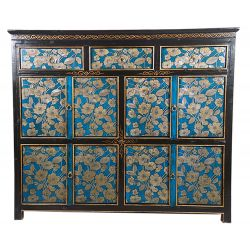 Buffet tibétain 3 tiroirs hauts et 8 portes 120x38x96