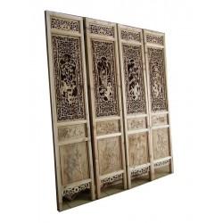 Det de 4 portes sculptées vietnamiennes L45xP3,5xH208 cm