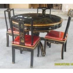 Table salle à manger ronde avec 4 chaises100xH81