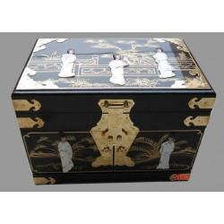 Boîte à bijoux noire incrustée nacre 36x24x26