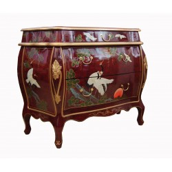 Commode chinoise galbée rouge vif 117x53x90