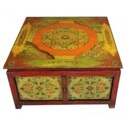 Table de salon tibétaine L90xP90xH50 cm