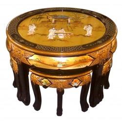 Table de salon ronde et 4 tabourets 76x76x51